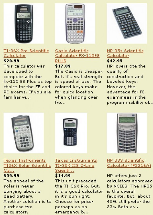 Compare the best PE exam calculators on one page.
