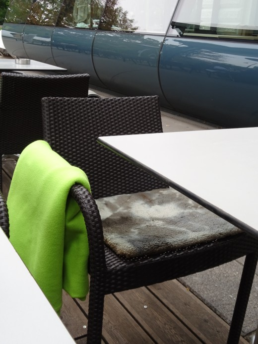 In Vienna the restaurants and cafes cater for the cold weather. As well as overhead gas heaters they provide rugs and cushions for outdoor diners