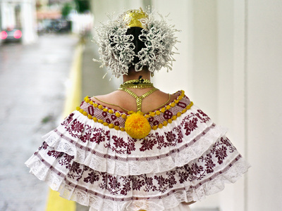 "Young Panamanian Woman Wearing the Traditional Pollera - ""the most admired national costume of the Americas"", per PanamaLiving.com"