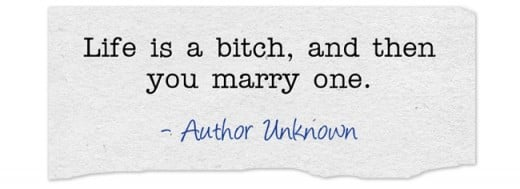 """Life is a bitch, and then you marry one."" ~Author Unknown"