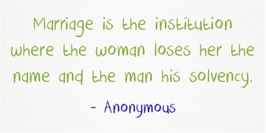 """""""Marriage is the institution where the woman loses her the name and the man his solvency."""" ~ Anonymous"""