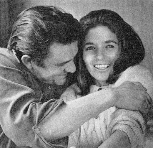 """Johnny Cash and his beloved wife, June Carter. The pair had on/off affairs for many years, before they eventually tied the knot.  June wrote the song, """"Ring of Fire"""" about their turbulent but passionate relationship, which Johnny later recorded."""