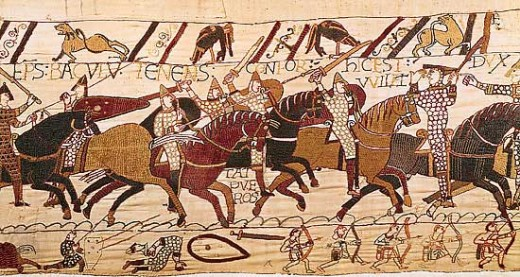 Tapestry detail showing Norman cavalry on Caldbec Hill (Battle, Hastings)