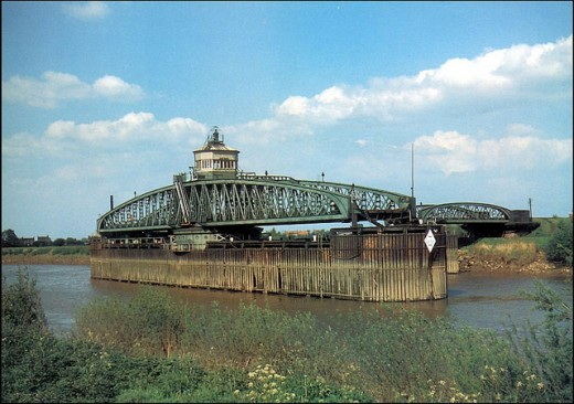 River Ouse swing bridge opened to river traffic - the need for a swing bridge arose from a lack of elevated land around the lower Ouse and along the Humber sufficient to allow ships through to Goole or Selby