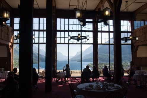 Waterton Lake, from inside the Prince of Wales Hotel