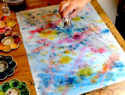 Painting large pieces of paper with lots of paint and splashes, then adding salt makes for great gift wrapping paper and decorative paper for gift boxes and bags.