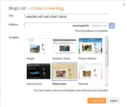 Tile and blog address entered - watermark template selected- Step 2