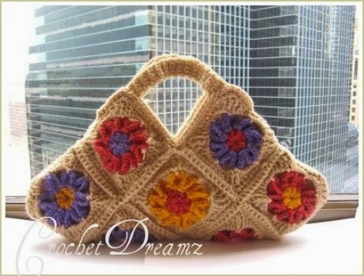 Crochet Floral Granny Square Bag