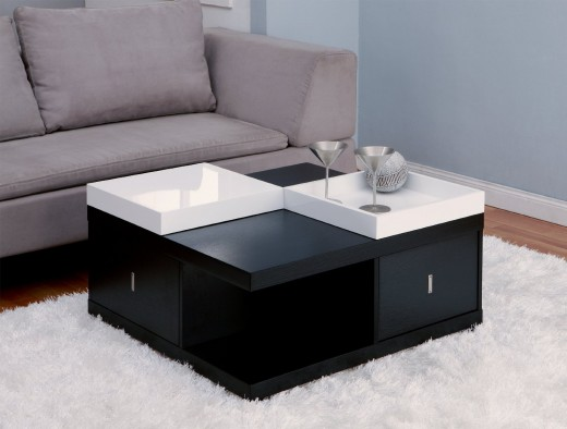 Sleek & Sophisticated Modern Black Square Coffee Table with Serving Trays and Storage