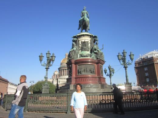 Equestrian monument to Nicholas I at Isaakievskaya Ploshchad (St. Isaac's Square).St Petersburg,Russia