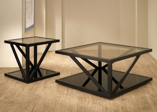 "Square Modern Glass-top Black Coffee/Cocktail Table for Small Rooms: 35"" x 35"""
