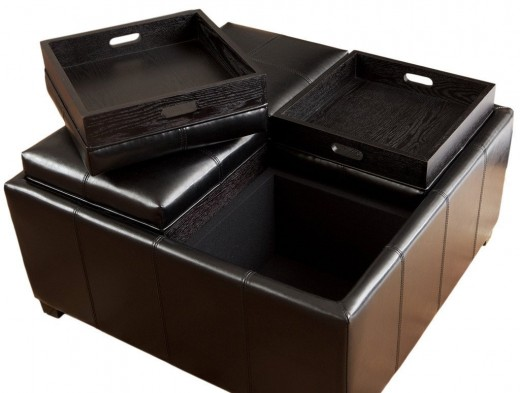 Harley Leather Black Square Storage Ottoman Style Coffee Table with 4-Tray Top