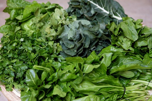 Leaves and Green vegetables