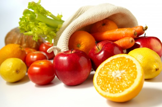 Fruits, yellow and orange vegetables