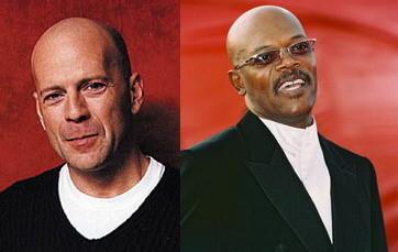 "Bruce Willis and Samuel Jackson in film ""Unbreakable"""