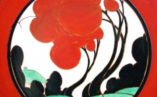 Red Autumn. A typical Clarice Cliff design from 1930