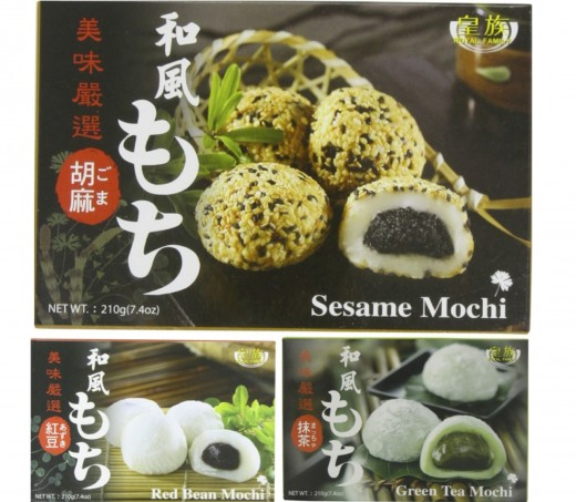Popular Flavors of Mochi include Sesame, Red Bean, Green Tea, and (not pictured) Taro, Melon, Peach, Mango, Peanut and More. Available at