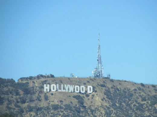 The view of the Hollywood sign from our room at the Loew's Hotel Hollywood