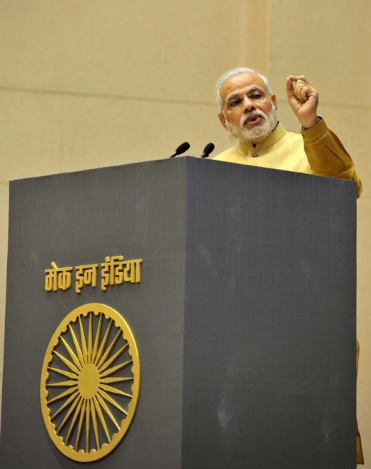 "Prime Minister Narendra Modi speaking at the inauguration of the ""MAKE IN INDIA"" initiative in New Delhi on 25 September 2014."
