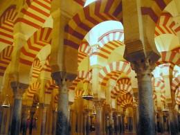 Beautiful painted pillars of La Mezquita in Córdoba.