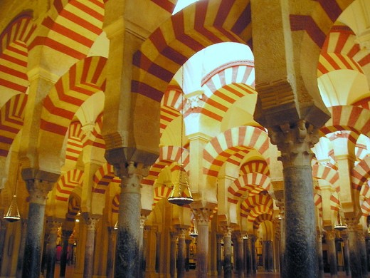 Beautiful painted pillars of La Mezquita in Córdoba.
