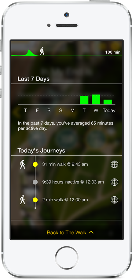 Activity tracking from the iPhone version of The Walk.