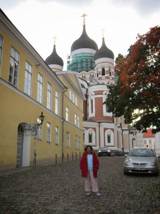 The cobbled stone streets and Russian Orthodox Church -Tallinn,Estonia