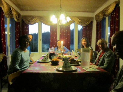 Dinner Party I hosted at the house of my Finnish hosts- Paivii and Antii  in Sipoo,Finland. From right to left,Me,Alex a fellow guest from Latvia,Ruth,Irina (daughters of Paivii and Antii. Bought the food from the supermarket.I can't cook Finnish.