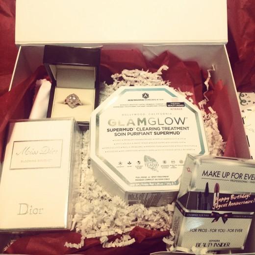 Birthday Box: Ring- Sierra West, Perfume- Dior Miss Dior Blooming Bouquet, Glam Glow SuperMUD mask, Birthday Gift (Lipstick and Mascara- Sephora. Best Birthday EVER!