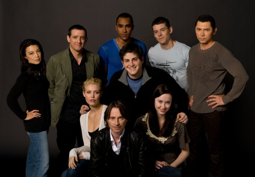 Stargate Universe cast back row (from left to right): Ming-Na, Louis Ferreira, Jamil Walker Smith, Brian J. Smith, and Lou Diamond Phillips Middle: David Blue Front row (from left to right): Alaina Huffman, Robert Carlyle, and Elyse Levesque