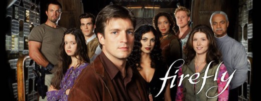 Cast of Firefly (from left to right): Adam Baldwin, Summer Glau, Sean Maher, Nathan Fillion, Morena Baccarin, Gina Torres, Alan Tudyk, Jewel Staite, and Ron Glass