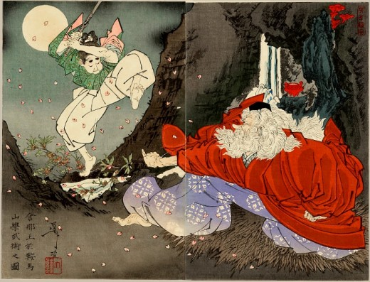 Yoshitoshi Sojobo instructs Yoshitsune in the sword. Public domain.
