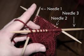 Double pointed needles; knitting in the round.