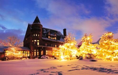 Belhurst Castle grounds in winter Geneva, New York