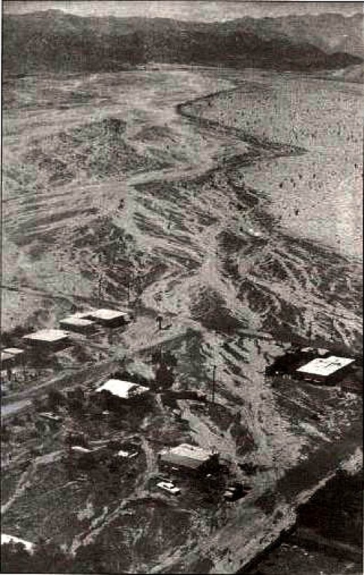 Damage in the desert near Ocotillo, CA from Tropical Depression Kathleen in 1976.