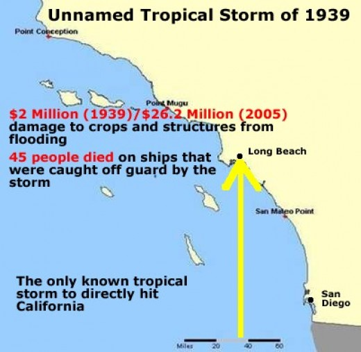 Path and damage of the famous 1939 tropical storm that hit southern California