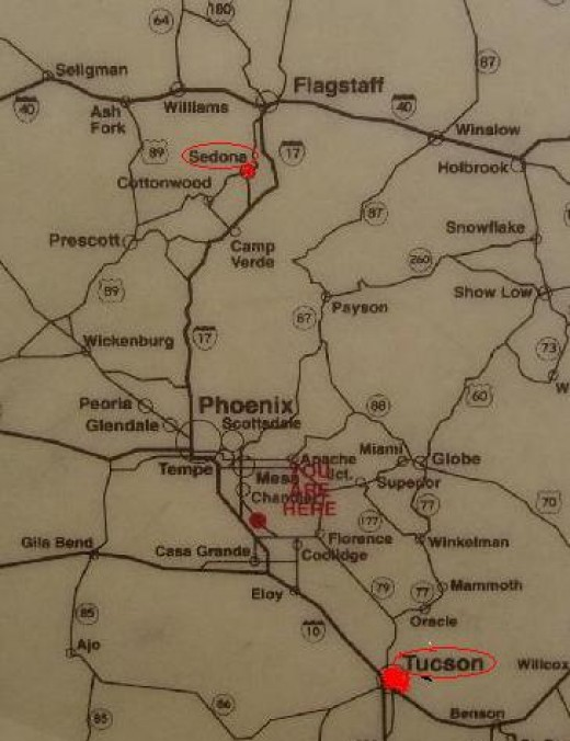 Our Route - Interstate 10 to Phoenix then Interstate 17 North to Sedona Exit