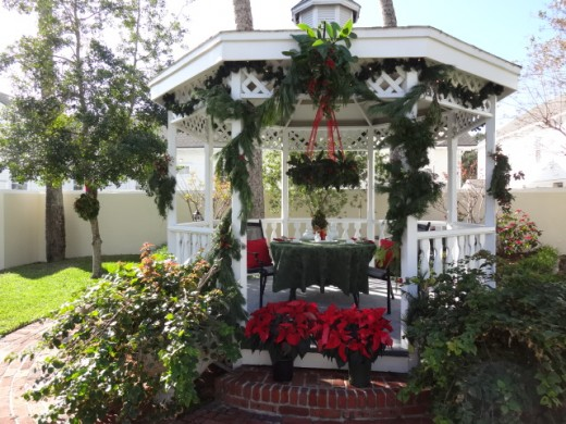 An Outdoor Gazebo Decorated for Christmas in St. Augustine Florida