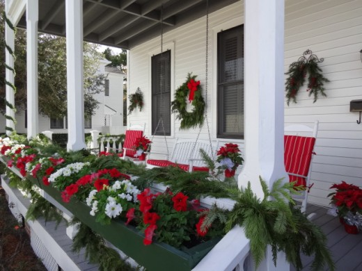 A Floridian Front Porch Decorated for Christmas