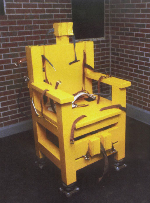 """The Electric Chair at Holman Prison in Alabama pictured. It's affectionately called """"Yellow Mama"""""""