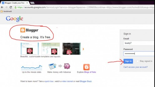 Step 2 : Login in to blogger account