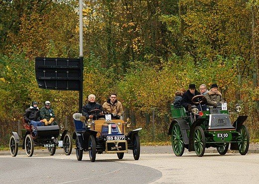 Three veteran cars taking part in the 2011 race between London and Brighton.