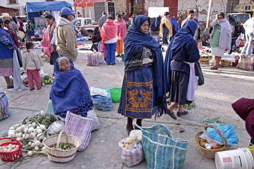 Bartering in a market in Mexico
