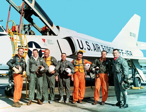 Mercury Seven astronauts with a USAF F-106B Delta Dart. Left to right: M. Scott Carpenter, Leroy Gordon Cooper, John H. Glenn, Jr., Virgil I. Gus Grissom, Jr., Walter M. Wally Schirra, Jr., Alan B. Shepard, Jr., Donald K. Deke Slayton