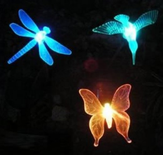 Butterfly, dragonfly and hummingbird outdoor lights