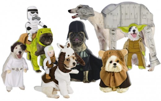 L to R: Princess Leia, Dewback Dog, Tauntaun, Dog Vader, AT-AT Walker, Ewok, Yoda. Available at