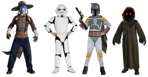 From Left to Right: Deluxe Star Wars Cad Bane Kids Costume, Star Wars Child's Deluxe Stormtrooper, Boba Fett Kids Costume, and Star Wars Jawa Kids Costume.