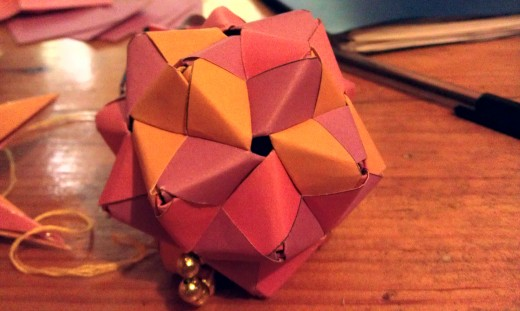 Modular origami Christmas ball for a friend's tree