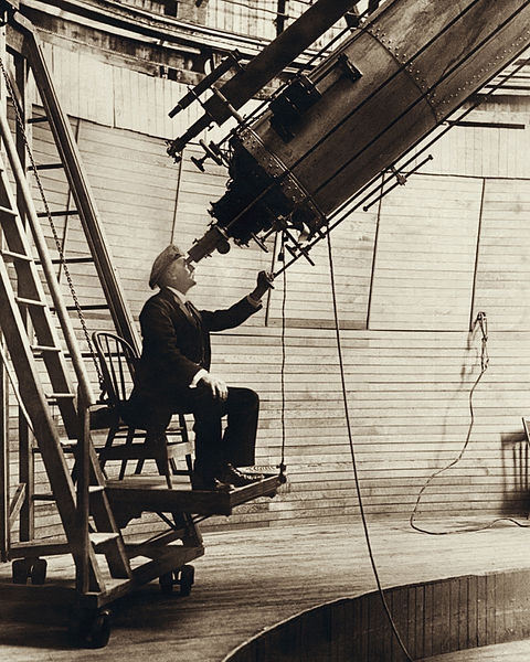 Percival Lowell observing from Mars Hill