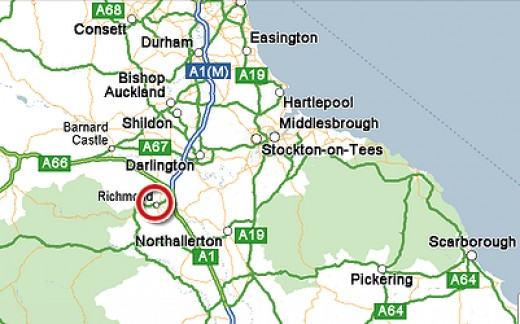 Richmond -  circled in red in North Yorkshire, close to County Durham and the main A1(M)
